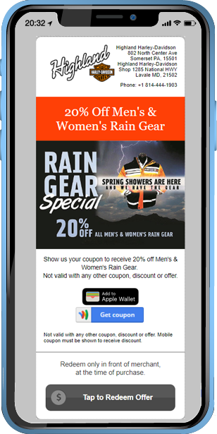 An example of a mobile coupon from Harley Davidson and Mobiniti