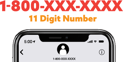 A visual example of a toll free number in text marketing.